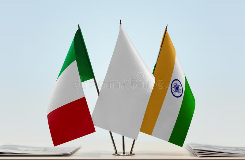Flaga Włochy i India zdjęcia royalty free
