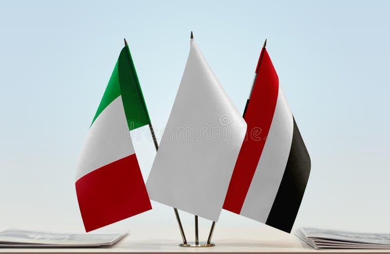 Flaga Włochy i Jemen fotografia royalty free