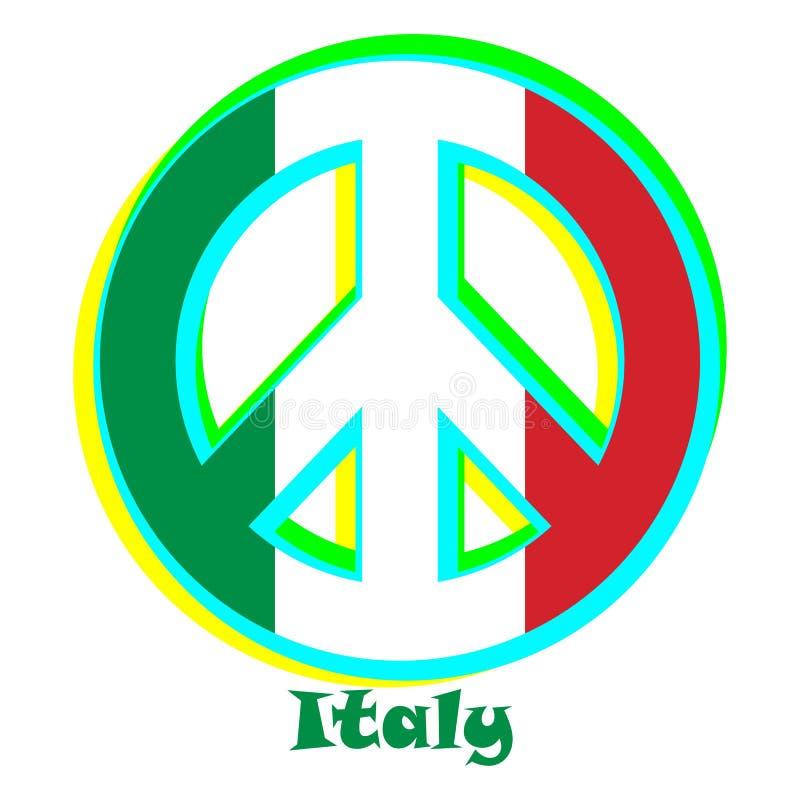 Flaga Włochy jako znak pacyfizm ilustracja wektor