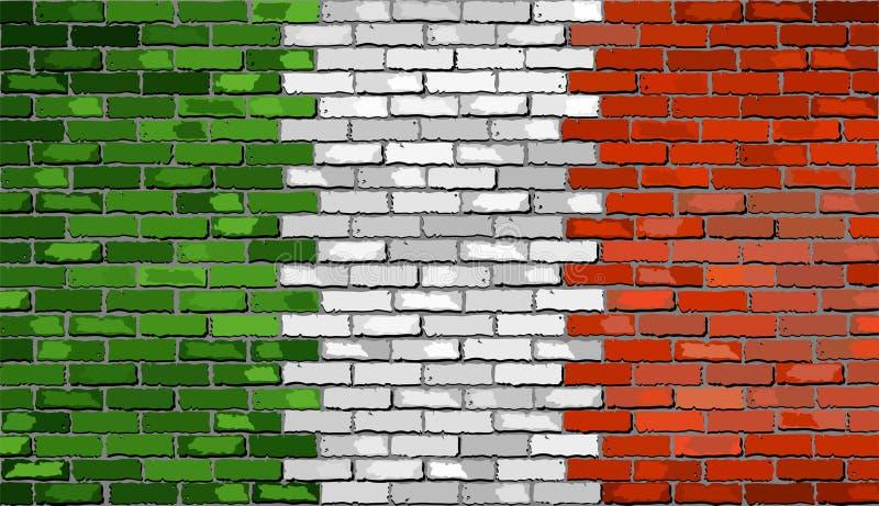 Flaga Włochy na ściana z cegieł ilustracja wektor