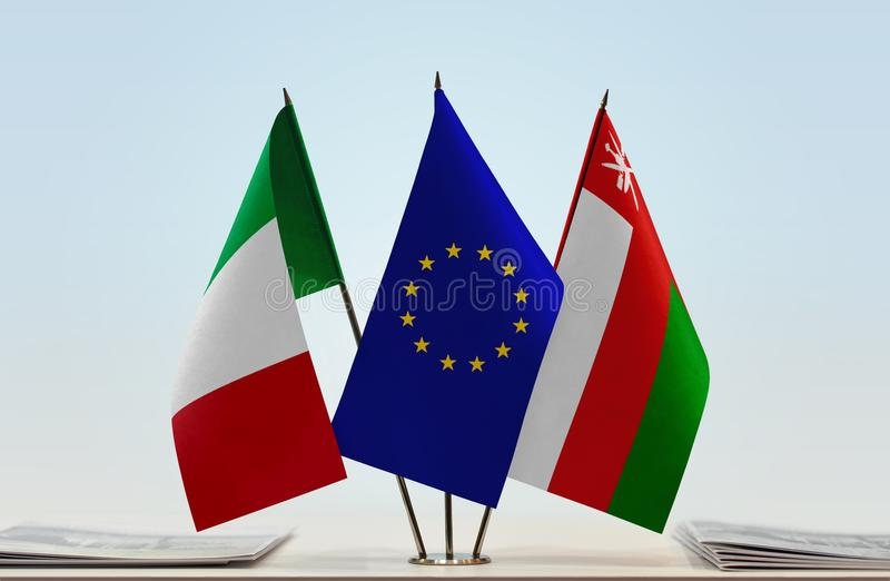 Flaga Włochy UE i Oman obraz stock