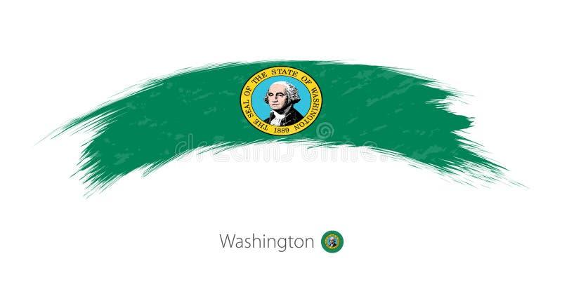 Flaga Waszyngton w zaokrąglonym grunge muśnięcia uderzeniu royalty ilustracja