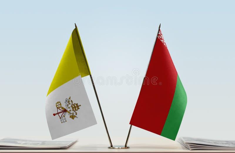Flaga watykan i Białoruś zdjęcia royalty free