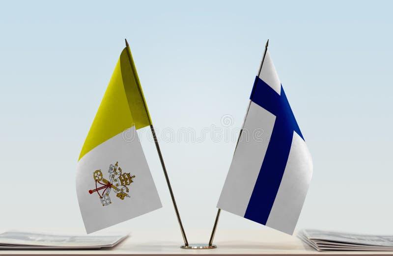 Flaga watykan i Finlandia obraz stock