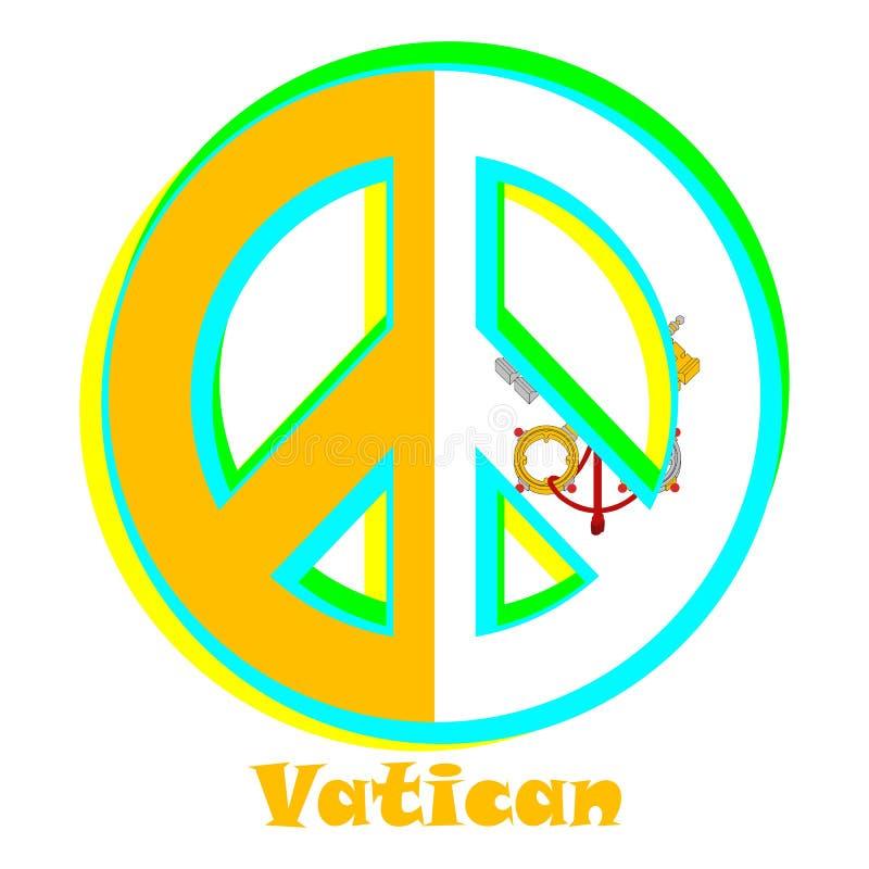 Flaga watykan jako znak pacyfizm ilustracji