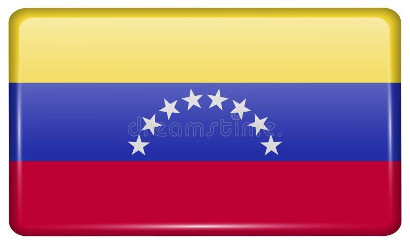 Flaga Wenezuela w postaci magnesu na chłodziarce z odbiciami zaświecają obrazy royalty free