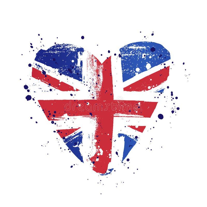 Flaga Wielki Brytania w postaci dużego serca r?wnie? zwr?ci? corel ilustracji wektora ilustracji
