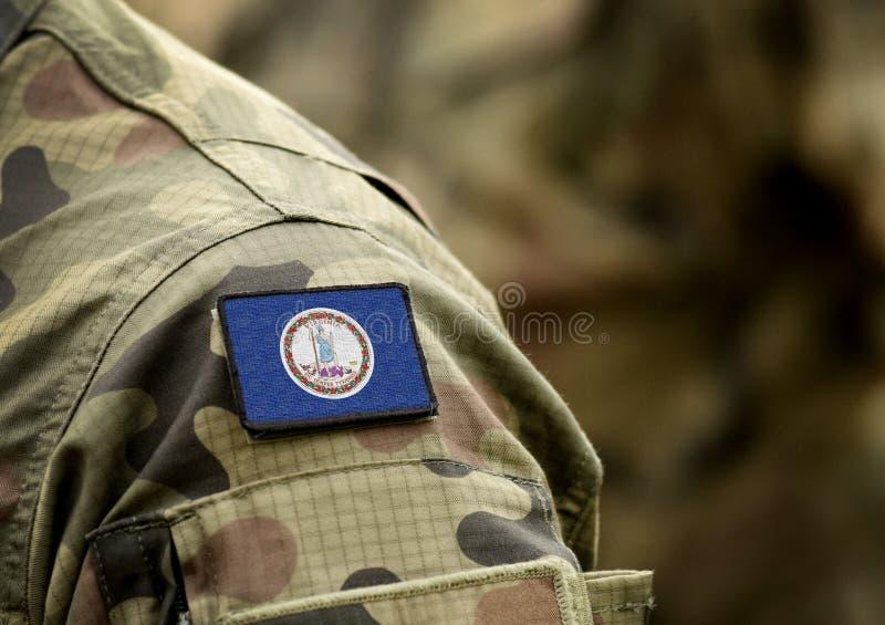 Flaga Wirginii na mundurach wojskowych Stany Zjednoczone USA Kolaż zdjęcia royalty free