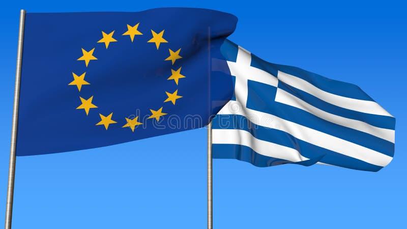 Flaga wspólnota europejska i Grecja na niebieskiego nieba tle royalty ilustracja