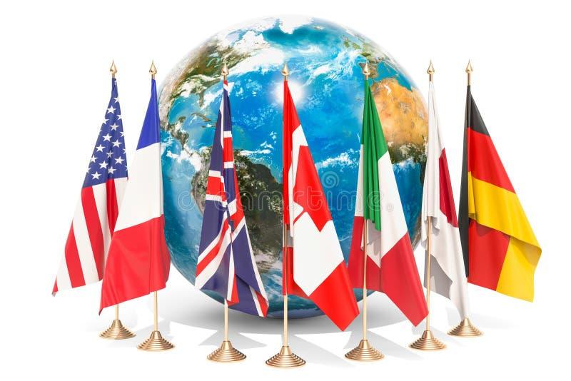 Flaga wszystkie członka G7 wokoło Ziemskiej kuli ziemskiej, spotyka pojęcie royalty ilustracja