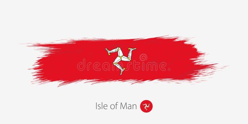Flaga wyspa mężczyzna, grunge abstrakta muśnięcia uderzenie na szarym tle ilustracji