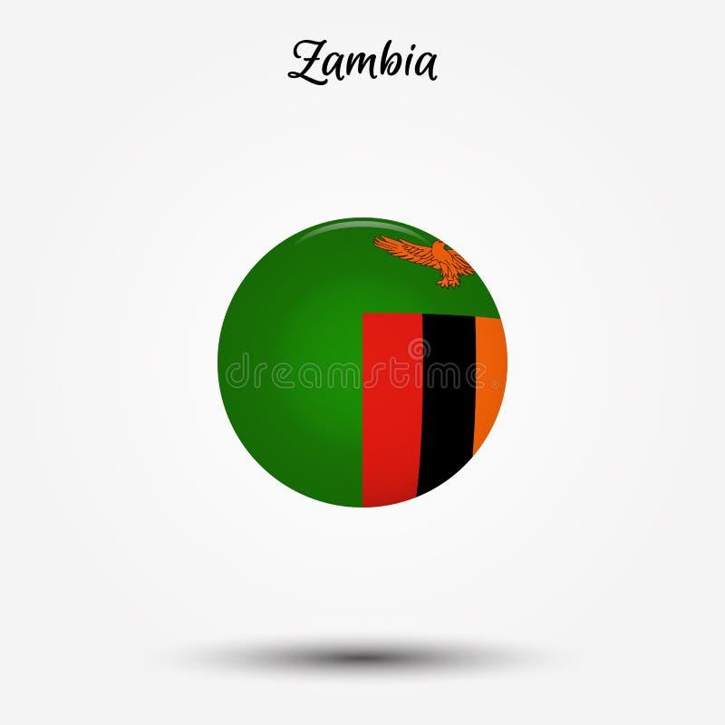 Flaga zambia ikona ilustracja wektor