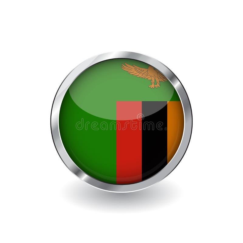 Flaga zambiowie, guzik z metal ramą i cień, zambiowie zaznaczają wektorową ikonę, odznakę z glansowanym skutkiem i kruszcową gran royalty ilustracja