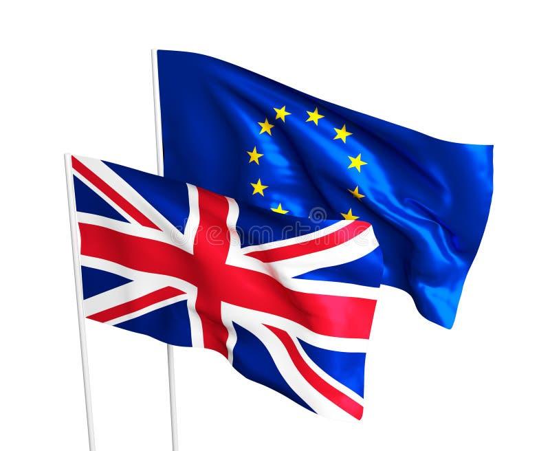 Flaga Zjednoczone Królestwo i Europejski zjednoczenie royalty ilustracja