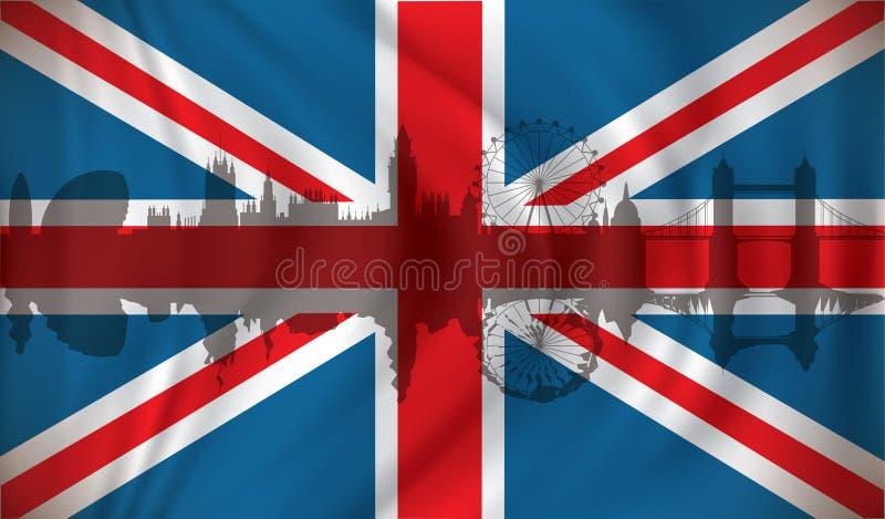 Flaga Zjednoczone Królestwo z Londyńską linią horyzontu ilustracja wektor