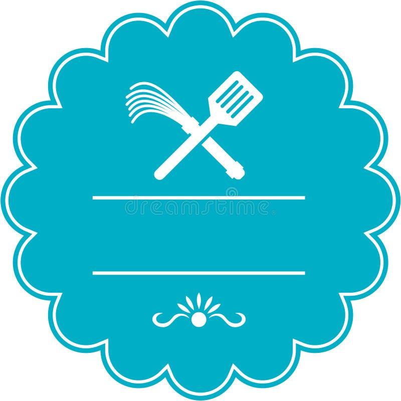Flagellateur Whip Crossed Rosette Retro de spatule illustration libre de droits