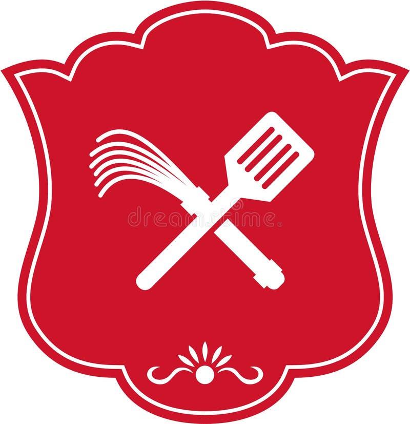 Flagellateur Whip Crossed Shield Retro de spatule illustration de vecteur