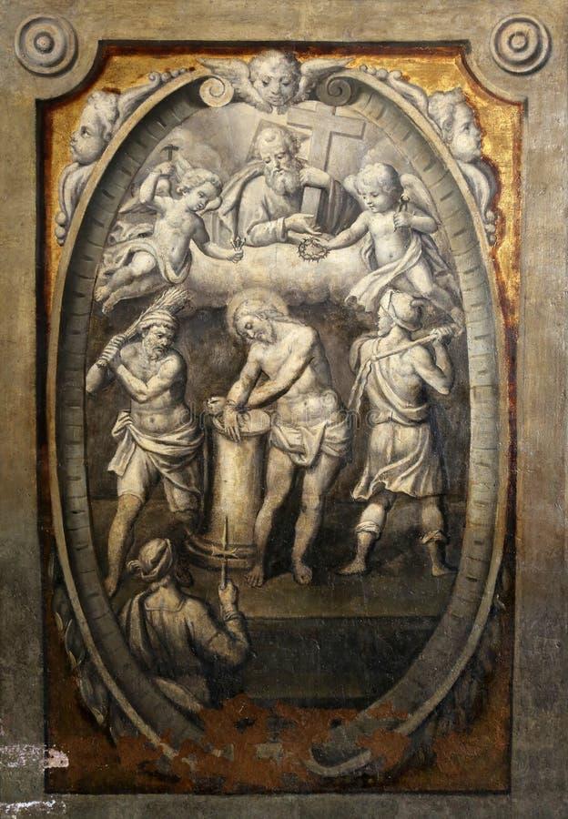Flagellatie van Christus stock foto's