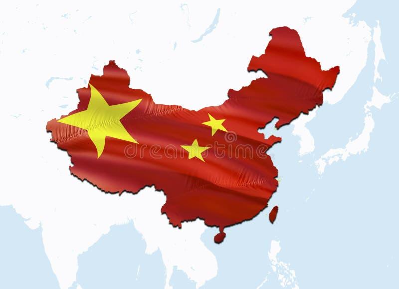Flaggaöversikt av Kina med Taiwan 3D som framför den Kina översikten och flaggan på den Asien översikten Det nationella symbolet  royaltyfri bild