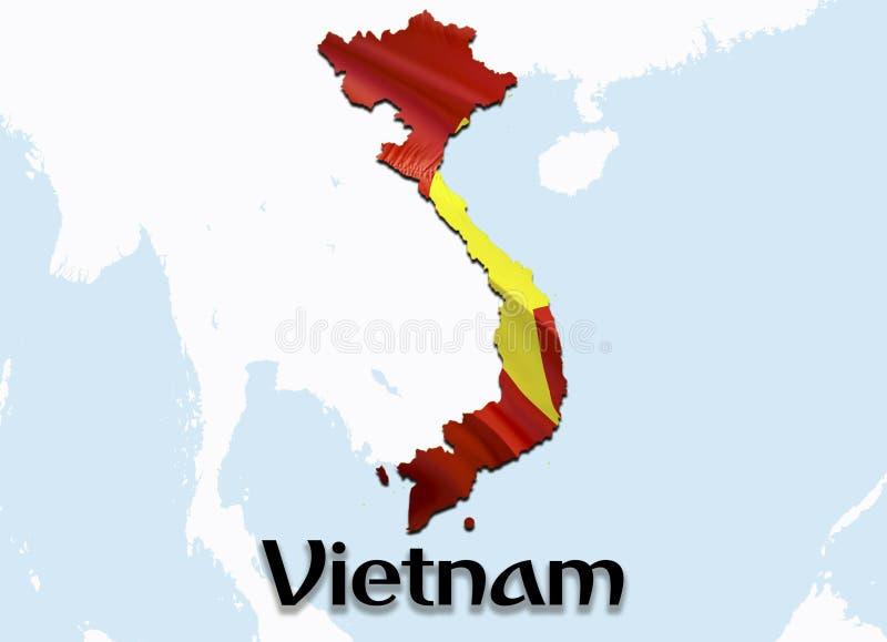 Flaggaöversikt av Vietnam 3D som framför den Vietnam översikten och flaggan på den Asien översikten Det nationella symbolet av Vi stock illustrationer