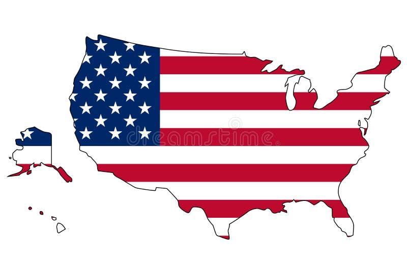 flaggaöversikt USA royaltyfri illustrationer