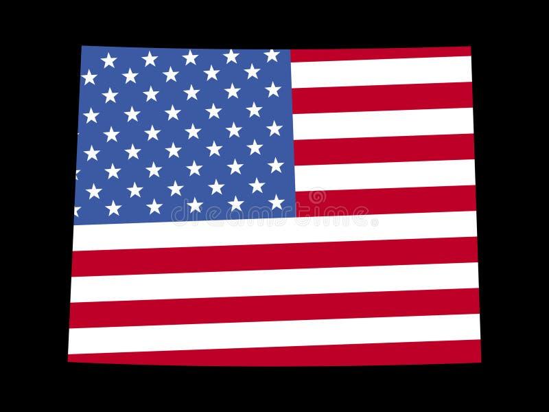 flaggaöversikt wyoming stock illustrationer