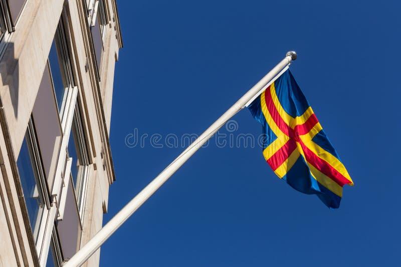 Flagga av Ålands i brussels Belgien arkivfoto