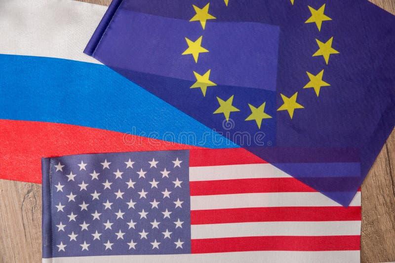 Flagga av Amerika, Europa, Ryssland royaltyfri fotografi