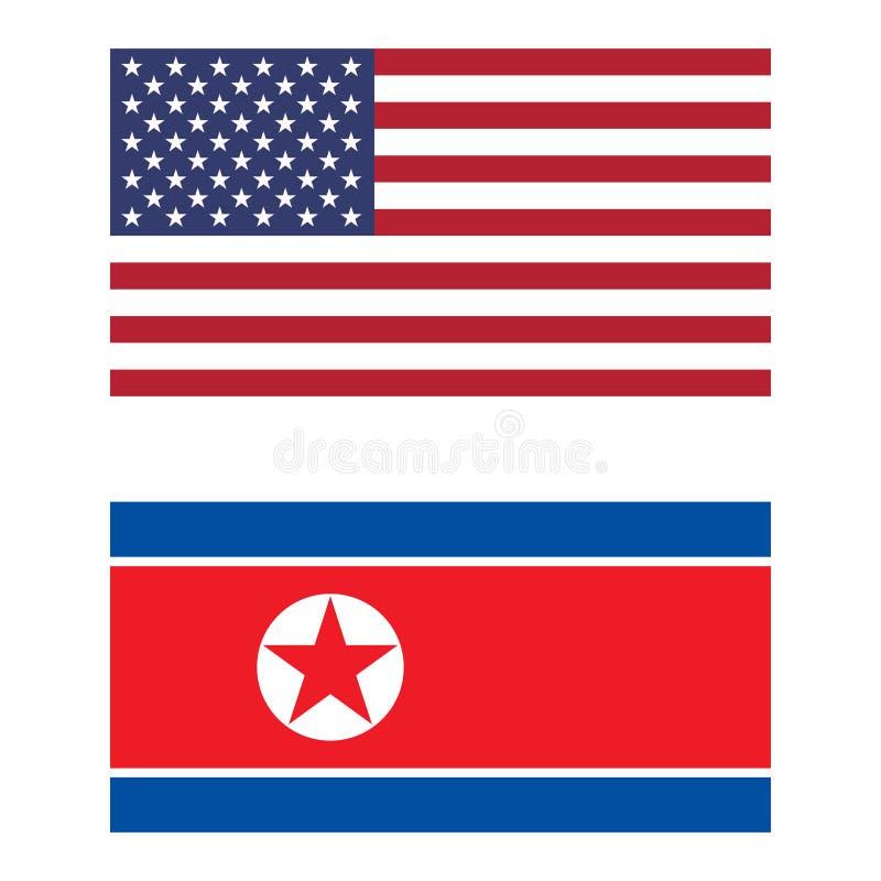 Flagga av Amerikas förenta stater och Nordkorea vektor illustrationer