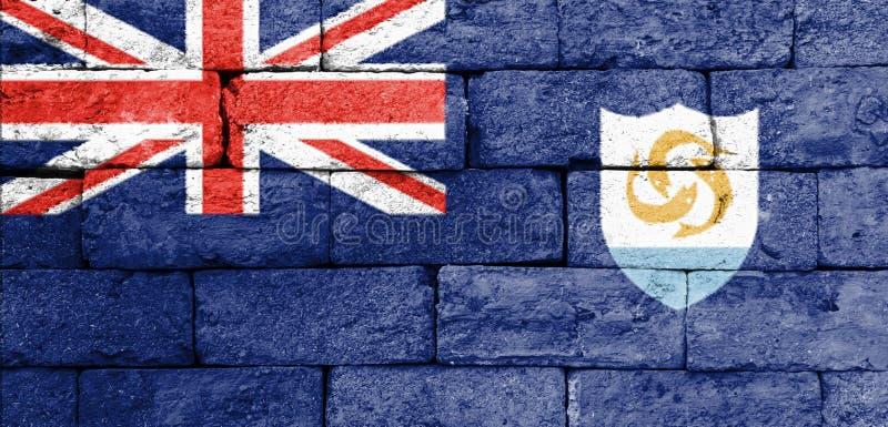 Flagga av Anguilla på den gamla tegelstenväggen arkivbild