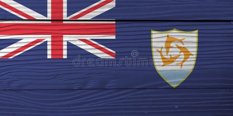 Flagga av Anguilla på träväggbakgrund Textur för GrungeAnguilla flagga royaltyfri fotografi