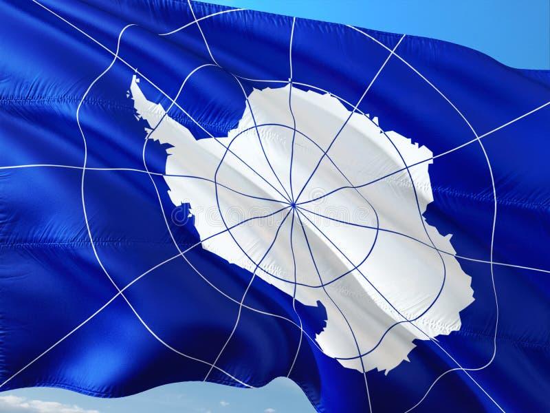 Flagga av Antarktis som vinkar i vinden mot djupbl? himmel H?gkvalitativt tyg royaltyfri foto