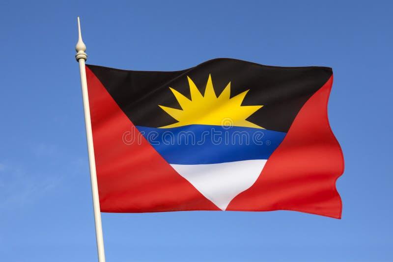 Flagga av Antigua ochen Barbuda - det karibiskt arkivfoton