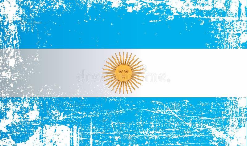 Flagga av Argentina, Republiken Argentina, rynkiga smutsiga fläckar royaltyfri illustrationer