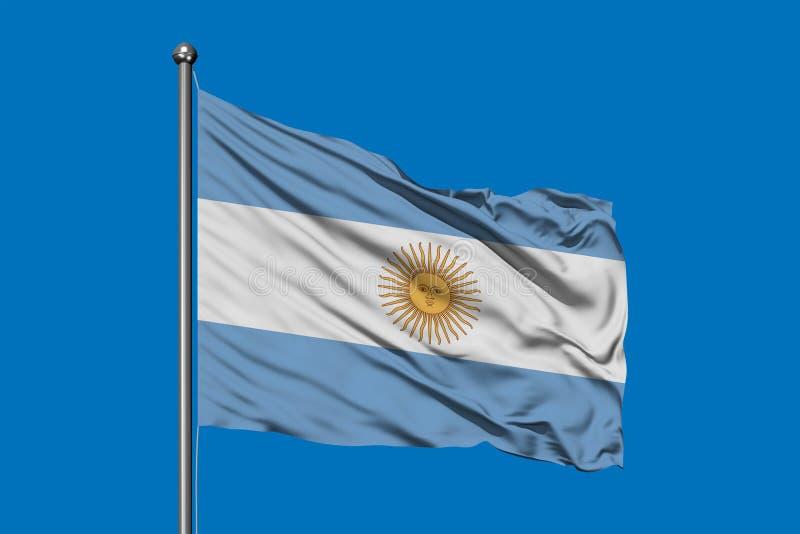 Flagga av Argentina som vinkar i vinden mot djupblå himmel argentinian flagga vektor illustrationer