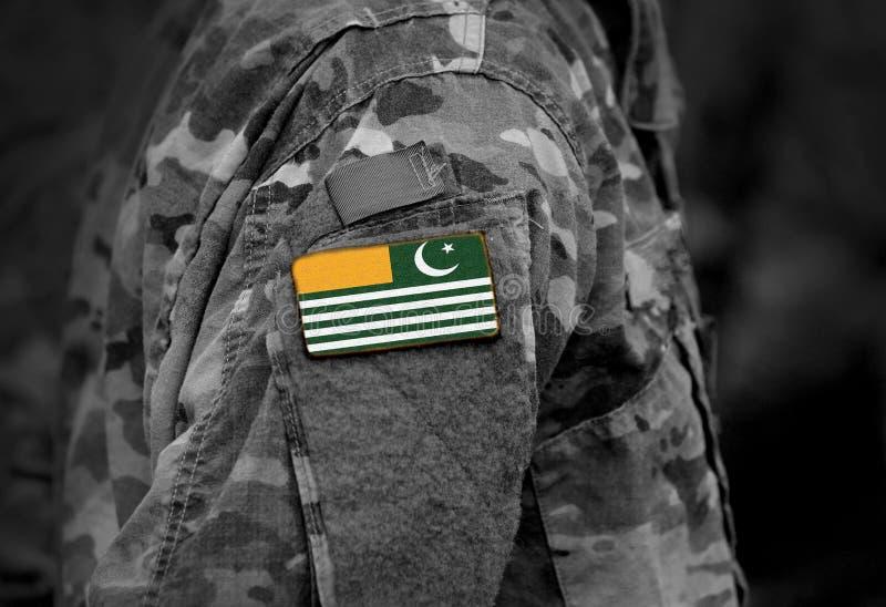 Flagga av Azad Kashmir på soldatarmen Flagga av Azad Jammu och Kashmir på militär enhetlig collage royaltyfri fotografi