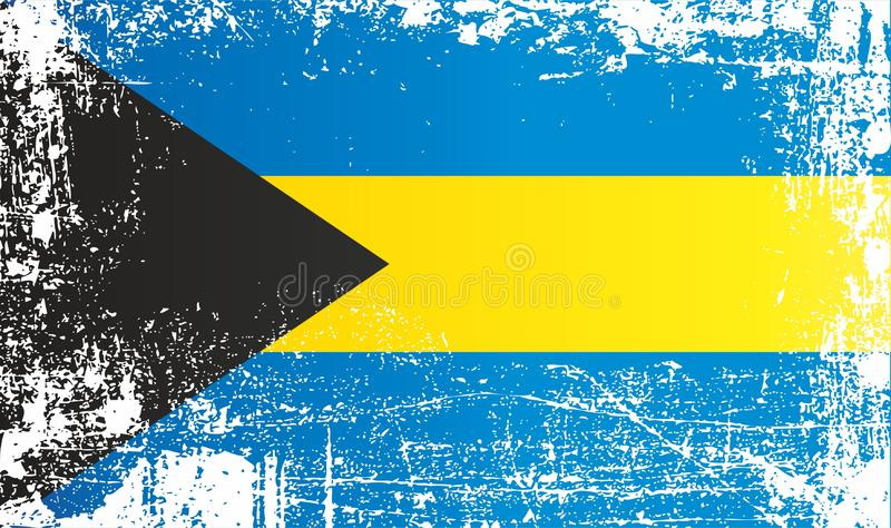 Flagga av Bahamas, Commonwealth of the Bahamas, rynkiga smutsiga fläckar royaltyfri illustrationer