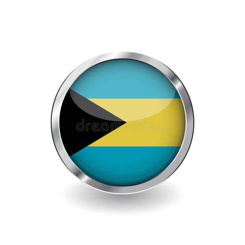 Flagga av Bahamas, knapp med metallramen och skugga Bahamas sjunker vektorsymbolen, emblemet med glansig effekt och den metallisk vektor illustrationer