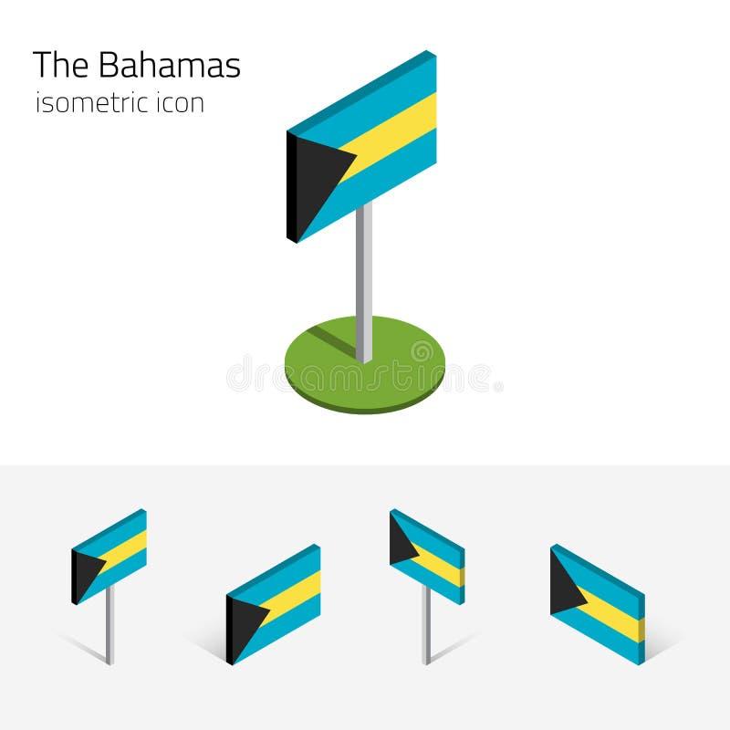 Flagga av Bahamas, vektoruppsättning av isometriska plana symboler, symbol 3D royaltyfri illustrationer