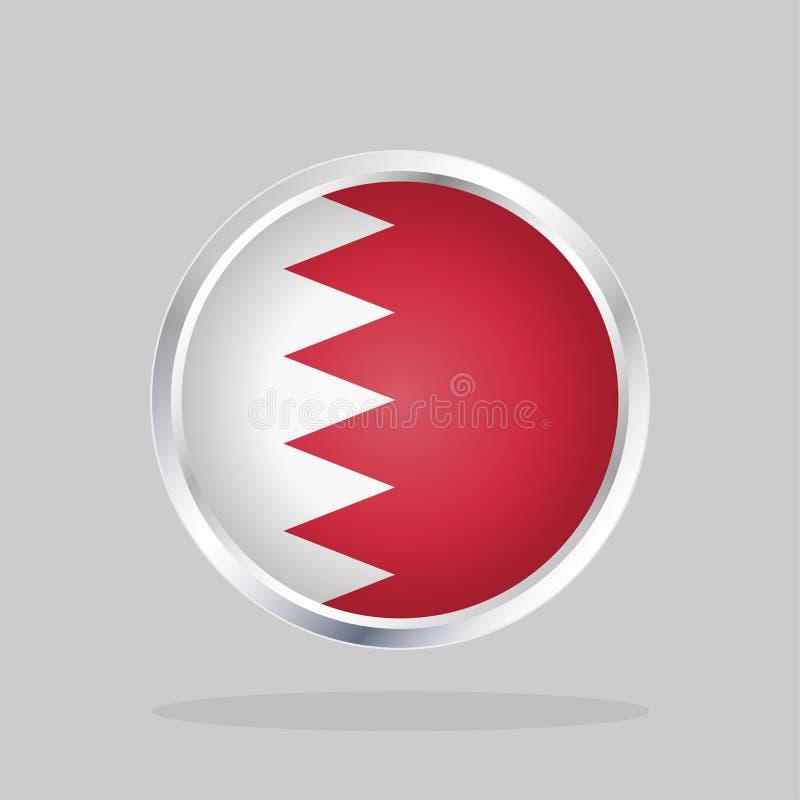 Flagga av Bahrain, glansig rund knapp royaltyfri illustrationer