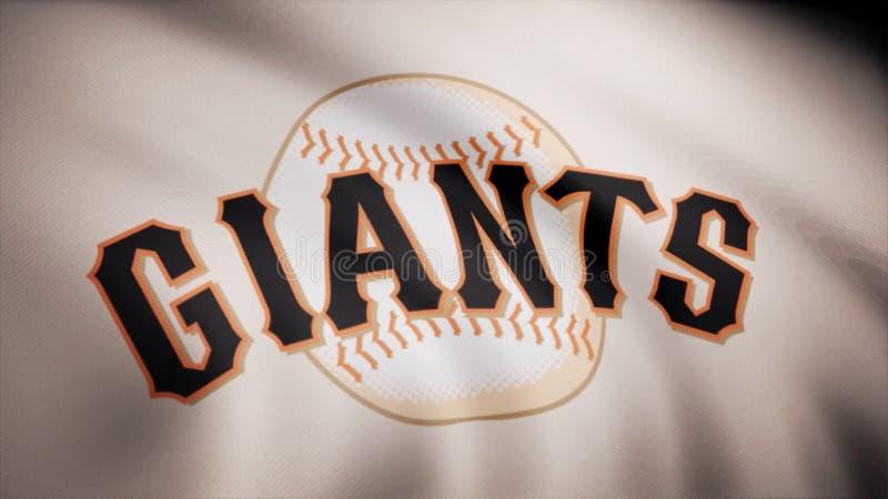 Flagga av baseballet San Francisco Giants, amerikansk yrkesmässig basketlaglogo, sömlös ögla Redaktörs- animering arkivfoton