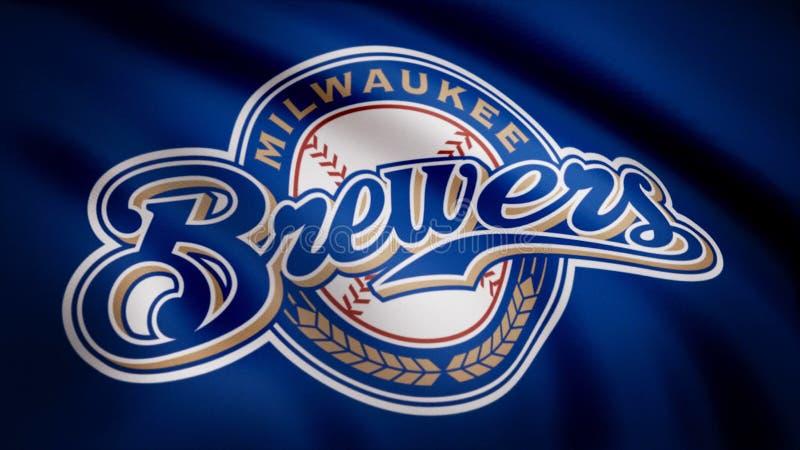 Flagga av baseballMilwaukee Brewers, amerikansk yrkesmässig basketlaglogo, sömlös ögla Redaktörs- animering stock illustrationer