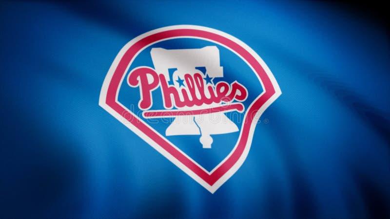 Flagga av baseballPhiladelphia Phillies, amerikansk yrkesmässig basketlaglogo, sömlös ögla Redaktörs- animering royaltyfri illustrationer