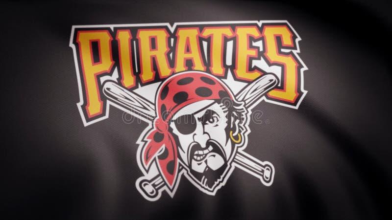Flagga av baseballPittsburgh Pirates, amerikansk yrkesmässig basketlaglogo, sömlös ögla Redaktörs- animering royaltyfria bilder