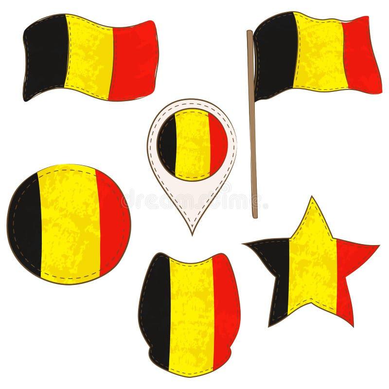 Flagga av Belgien som utförs i Defferent former royaltyfri illustrationer