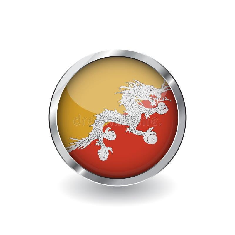 Flagga av Bhutan, knapp med metallramen och skugga symbol för Bhutan flaggavektor, emblem med glansig effekt och metallisk gräns  stock illustrationer