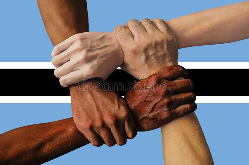 Flagga av Botswana, integration av en mångkulturell grupp av ungdomar royaltyfria bilder