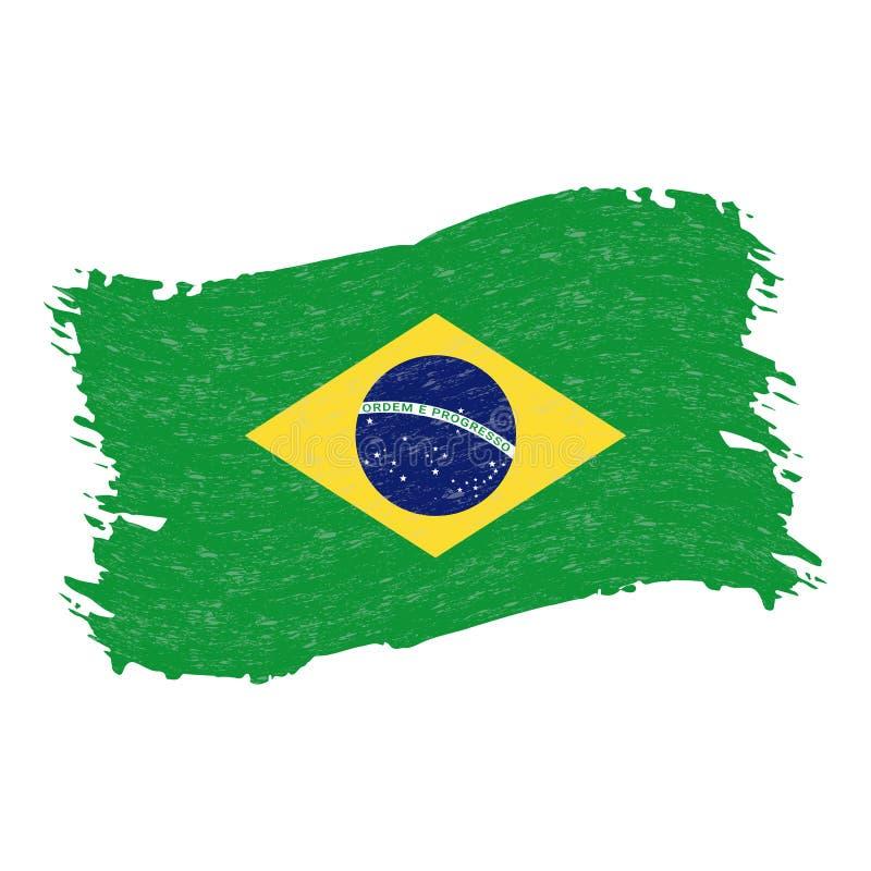 Flagga av Brasilien, slaglängd för Grungeabstrakt begreppborste som isoleras på en vit bakgrund också vektor för coreldrawillustr stock illustrationer