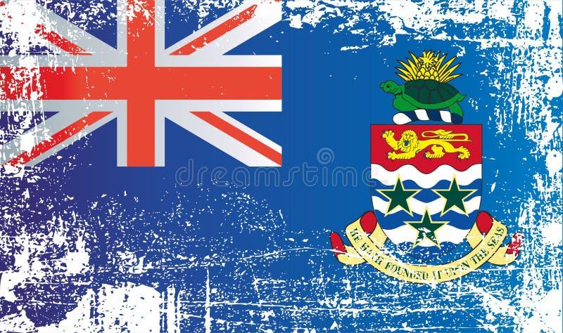Flagga av Cayman?arnaen Rynkiga smutsiga fläckar royaltyfri illustrationer