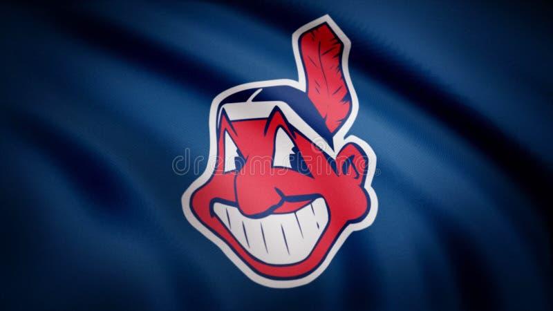 Flagga av Cleveland Indians, amerikansk yrkesmässig basketlaglogo, sömlös ögla Redaktörs- animering royaltyfri illustrationer